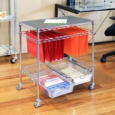 3-Tier Legal Office File & Utility Cart with 2 Baskets