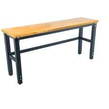 "72""W Adjustable Height Wood Top Workbench"