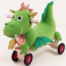 Softwood Puffy Dragon Plush Push/Scoot Ride-On