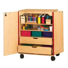 2 Compartment Classroom Cabinet with Casters