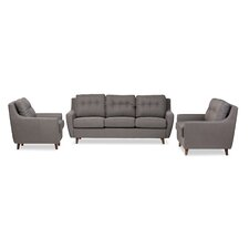 Alcee Mid-Century Modern Fabric Upholstered Tufted 3 Piece Living Room Set
