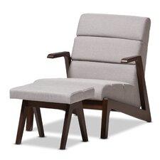 Lazzaro Mid-Century Modern Lounge Chair and Ottoman