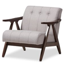 Enrico Mid-Century Modern Wood Fabric Lounge Chair
