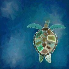 'Swimming Sea Turtle' by Cathy Walters Painting Print on Wrapped Canvas