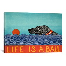 Life Is a Ball by Stephen Huneck Graphic Art on Canvas in Blue; Red and Black