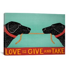 Love Is by Stephen Huneck Graphic Art on Canvas in Black and Blue