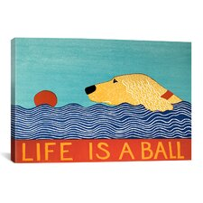 Life Is a Ball Gold Golden by Stephen Huneck Painting Print on Wrapped Canvas