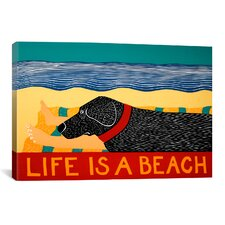 Life Is a Beach Black by Stephen Huneck Painting Print on Wrapped Canvas