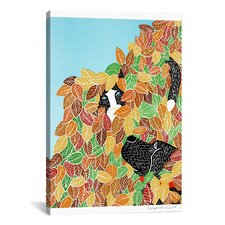 Dog and Cat Autumn by Stephen Huneck Graphic Art on Wrapped Canvas