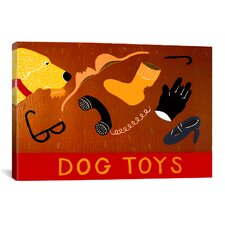 Dog Toys Yellow by Stephen Huneck Graphic Art on Wrapped Canvas