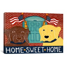 Home Sweet Home Chocolate/Yellow by Stephen Huneck Painting Print on Wrapped Canvas
