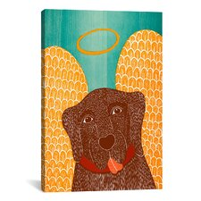 Stephen Huneck Angel Dog Choc Painting Print on Wrapped Canvas