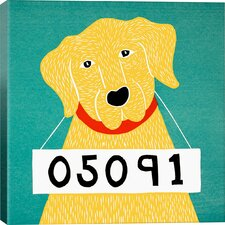 Stephen Huneck Bad Dog Yellow Painting Print on Wrapped Canvas