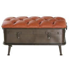 Tufted Faux Leather and Distressed Metal Storage Entryway Bench