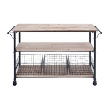 Metal and Wood Basket Utility Cart