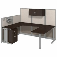 Office in an Hour U-Shape Workstation with Storage and Accessories