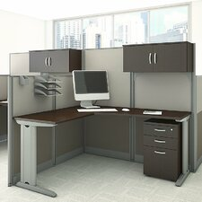 Office in an Hour L-Shape Workstation with Storage and Accessories