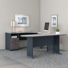 Series A U Shaped Corner Desk with Peninsula and Storage