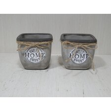 Modern Concrete Square Pot Planter (Set of 2)
