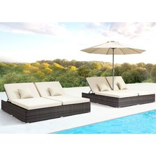 Modern double chaise outdoor chaise lounges allmodern for Breezy beach chaise