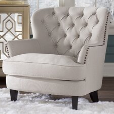 Parmelee Tufted Upholstered Linen Wing back Chair
