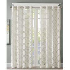 Quincy Fretwork Burnout Geometric Sheer Single Curtain Panel