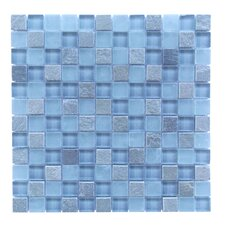 """Mineral 1"""" x 1"""" Glass and Slate Mosaic Tile in Blue Gray"""