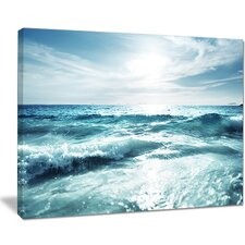 Seychelles Beach at Sunset Seashore Photographic Print on Wrapped Canvas