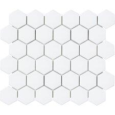 "Sail 2"" x 2"" Ceramic/Porcelain Mosaic Tile in Matte White"