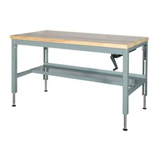 Basic Hydraulic Adjustable Height Wood Top Workbench