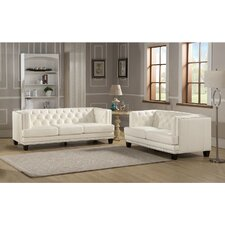 Newport Leather Sofa and Loveseat Set