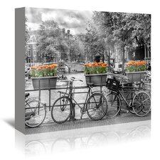 Typical Amsterdam Panoramic View Graphic Art on Wrapped Canvas