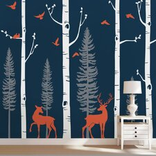 Birch Tree with Birds and Deer Wall Decal