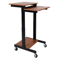 Teak Adjustable Height Presentation Workstation Standing Desk