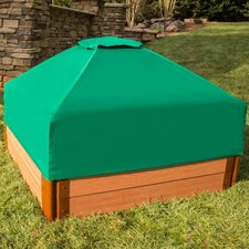 Composite 4 ft. Square Sandbox Kit with Collapsible Cover