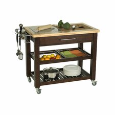 Pro Chef Kitchen Island with Granite and Wood Top