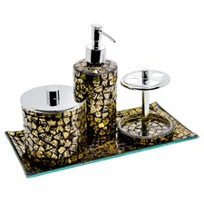 Gold bathroom accessories for Gold mosaic bathroom accessories