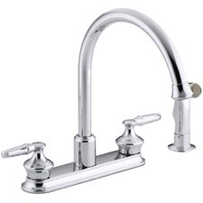 """Coralais Three-Hole Kitchen Sink Faucet with 9"""" Gooseneck Spout and Matching Finish Sidespray, Requires Handles"""