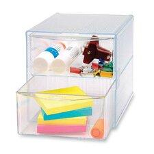 """Storage Organizer, 2 Drawer, 6""""x6""""x6"""", Clear"""