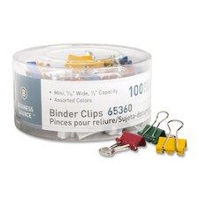 "Binder Clips, Mini, 9/16""W, 1/4"" Capacity, 100 per Pack, Assorted (Set of 2)"