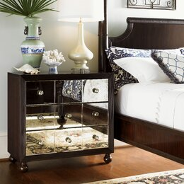 Sentinel FoxHunter Mirrored Furniture Glass Dressing Table With Drawer  Console Bedroom