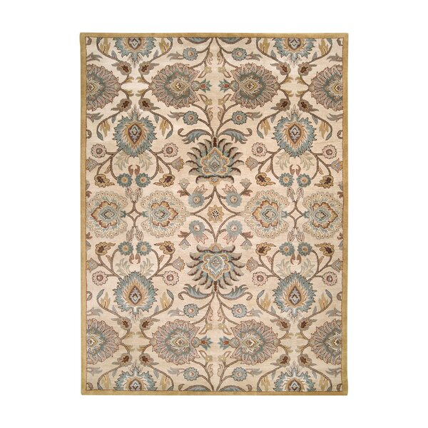 Elliot Parchment & Teal Floral Wool Hand-Tufted Area Rug
