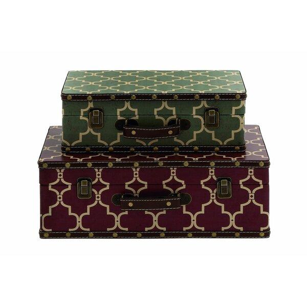 Cole grey wood vinyl suitcase decorative box reviews for Decor containers coles