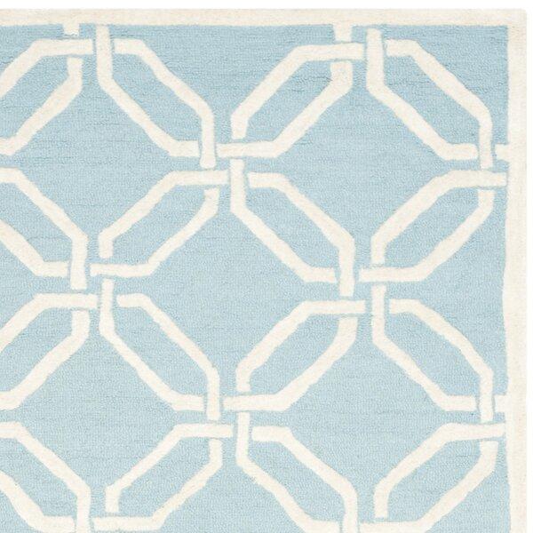 Sandra Ivory Amp Blue Geometric Wool Hand Tufted Area Rug
