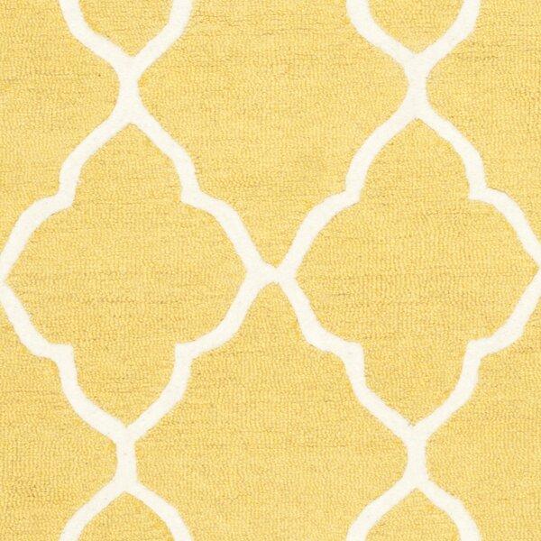 Sandra Ivory Amp Gold Geometric Wool Hand Tufted Area Rug