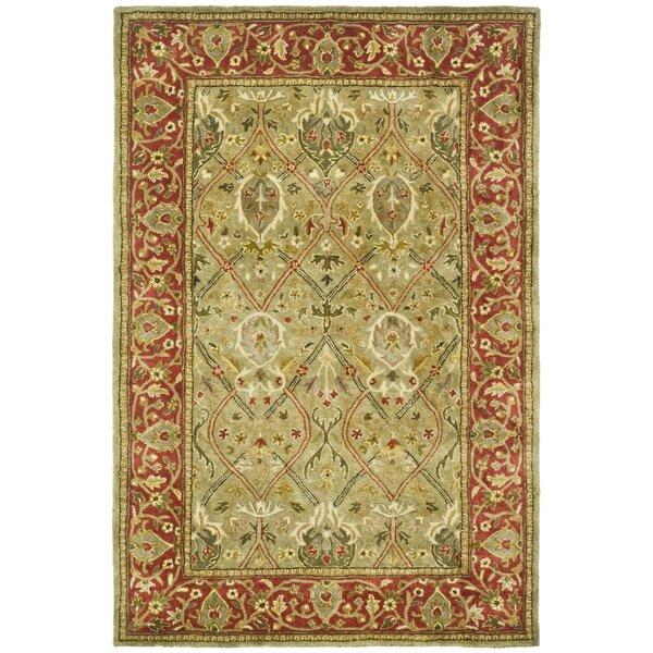 Parvati Green Amp Rust Oriental Wool Hand Tufted Area Rug