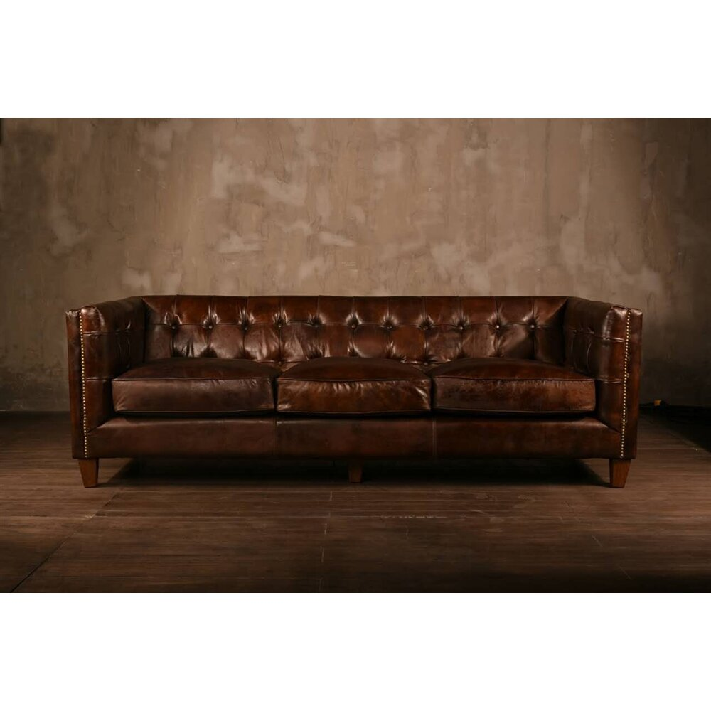 PoliVaz Chesterfield Leather Sofa Wayfair ca