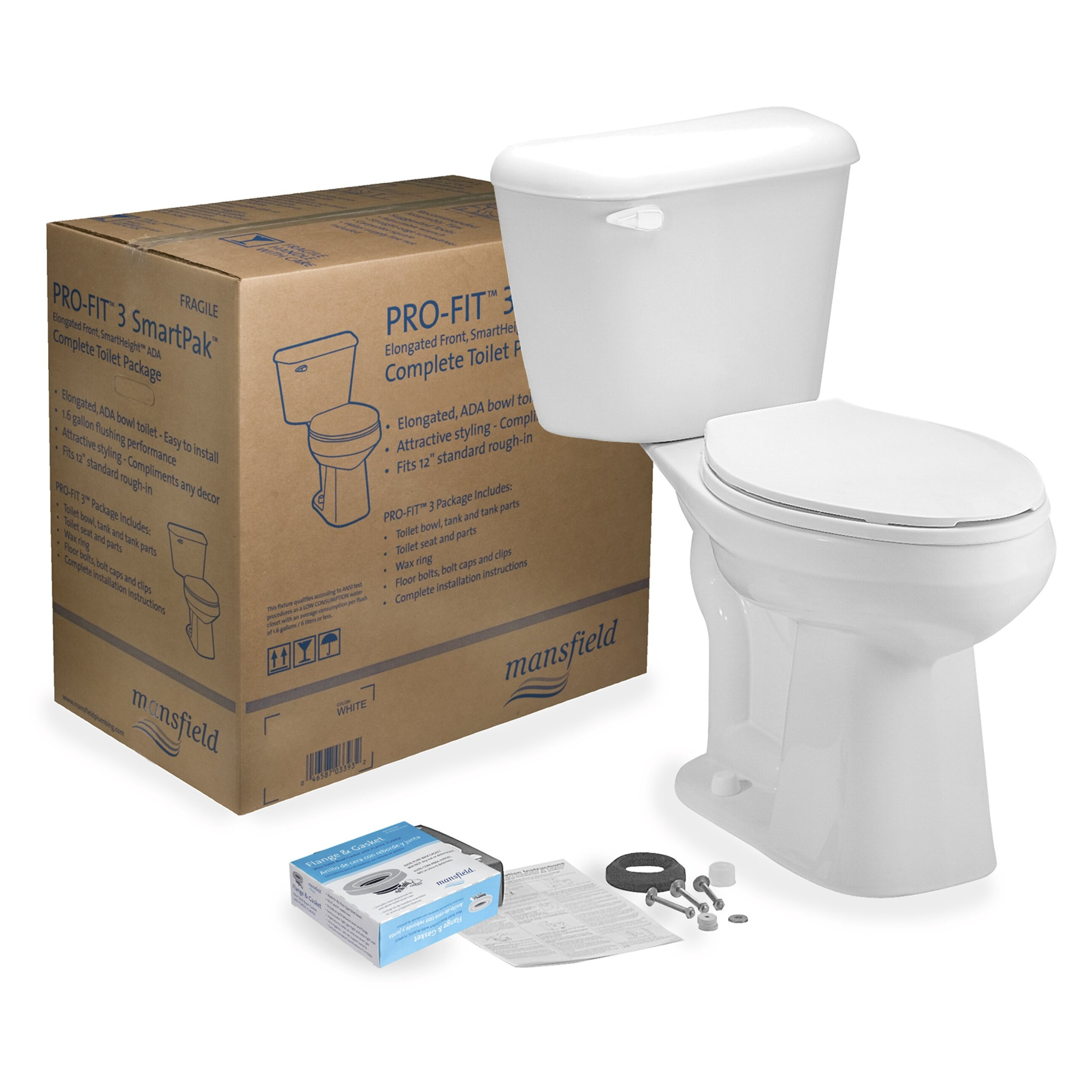 American Standard Cadet 3 Decor Mansfield Pro Fit 3 128 Gpf Elongated Two Piece Toilet Kit With