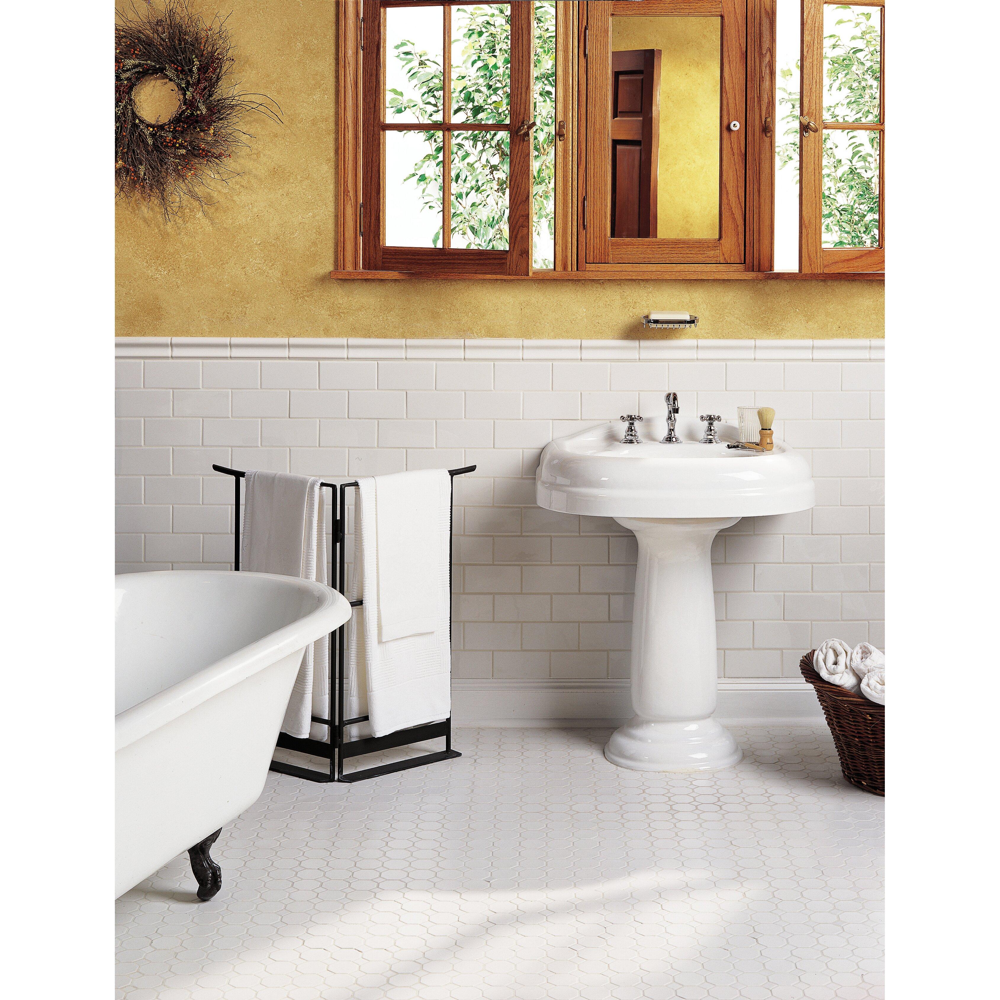 Daltile Bathroom Tile Daltile Octagon And Dot 2 X 2 Ceramic Mosaic Tile In Glazed
