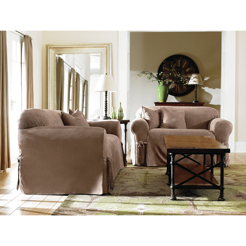 sure fit sofa box cushion slipcover reviews wayfair. Black Bedroom Furniture Sets. Home Design Ideas